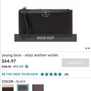 Kate Spade Eliza black leather wallet. NWT